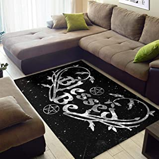 MoonChildWorld Blessed Be Pentagram Wicca Pagan Area Rug Floor Covers 4x6 FT Medium Size