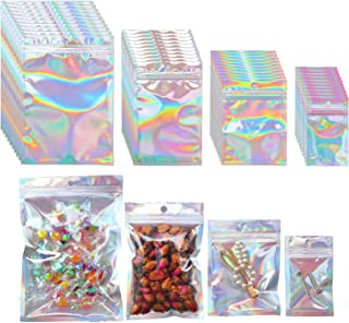 Beilecy 120 Pcs Resealable Foil Pouch with Window and Euro Hang Hole Odorless Mylar Bags Heat Seal Pouch Food Safe Storag...