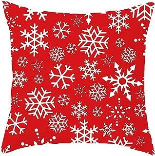 Libobo Christmas Pillow Case Covers Short Plush Soft Pillowcase Sofa Waist Throw Pad Cover Home Decoration (F)