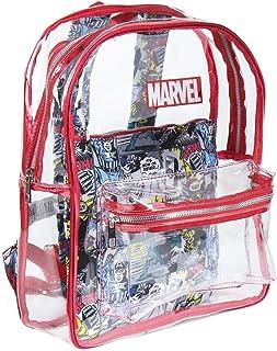 Mochila de Playa Transparente de Marvel con Compartimento Interior Impreso Unisex niños, Rojo, Grande
