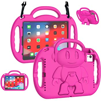 LTROP Kids Case for iPad Air 4th Generation/iPad Air 2020 Case, iPad Air 4 Case 10.9 inch,Shockproof Shoulder Strap Handle Stand Kids Case for iPad Air 4th Gen and iPad Pro 11 2020/2018, Rose