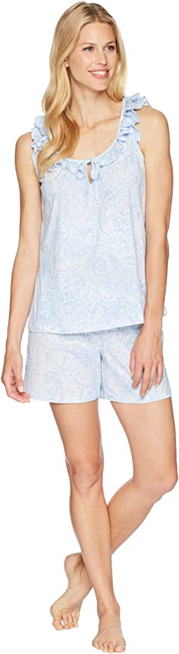 Sleeveless Ruffle Boxer Pajama Set