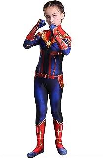 Captain Marvel Children's Deluxe Hero Suit, Halloween Costume for Girls, Superhero Jumpsuit