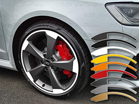 Sb Cardesign 8 8 5x19 Zoll Felgen Aufkleber Für Audi Rs3 8v 5 Arm Rotor 2 Felgen Rim Decal Gelb Auto