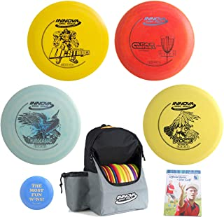 Innova Disc Golf Complete Advanced Set Gift Bundle - Discover Backpack Bag, 2 Drivers, Mid-Range, Putter + Mini Marker Disc & Rules (7 Items, Colors May Vary)