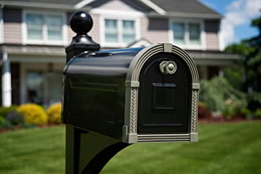 Gibraltar Mailboxes BM16BSN1 Brunswick Post Mount Mailbox, Large, Black and Satin Nickel