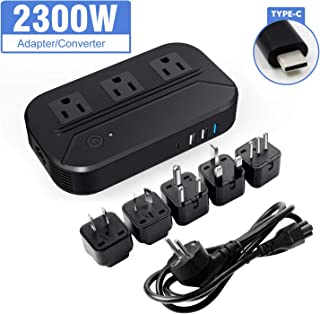 Croztek Voltage Converter 2300W Step Down 220V/240V to 110/120V International Travel Adapters Power Transformer Set w/USB Type-C Quick Charge Ports EU Cable UK/AU/IT/US/India/South Africa Plugs
