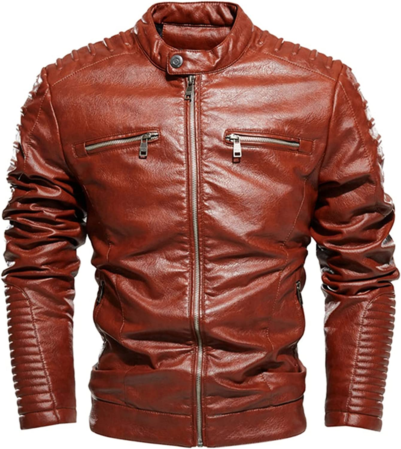 Men's Vintage Stand Collar Leather Jacket,Youth Motorcycle Jackets,Fashion Slim Coat