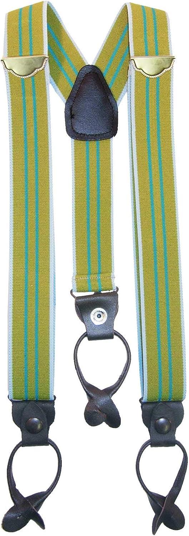 Old Timer Police Green Stripe Y Back Suspenders