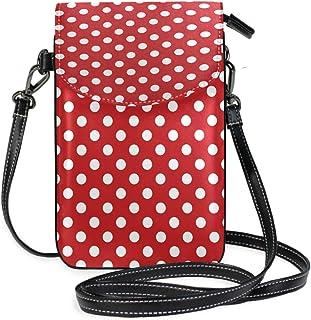 ZZKKO Mini-Umhängetasche, Umhängetasche, Handtasche, Leder, gepunktet, Rot und Weiß