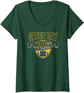 Womens Green Bay 100 Years TITLETOWN 13 Time CHAMPIONSHIP Football V-Neck T-Shirt