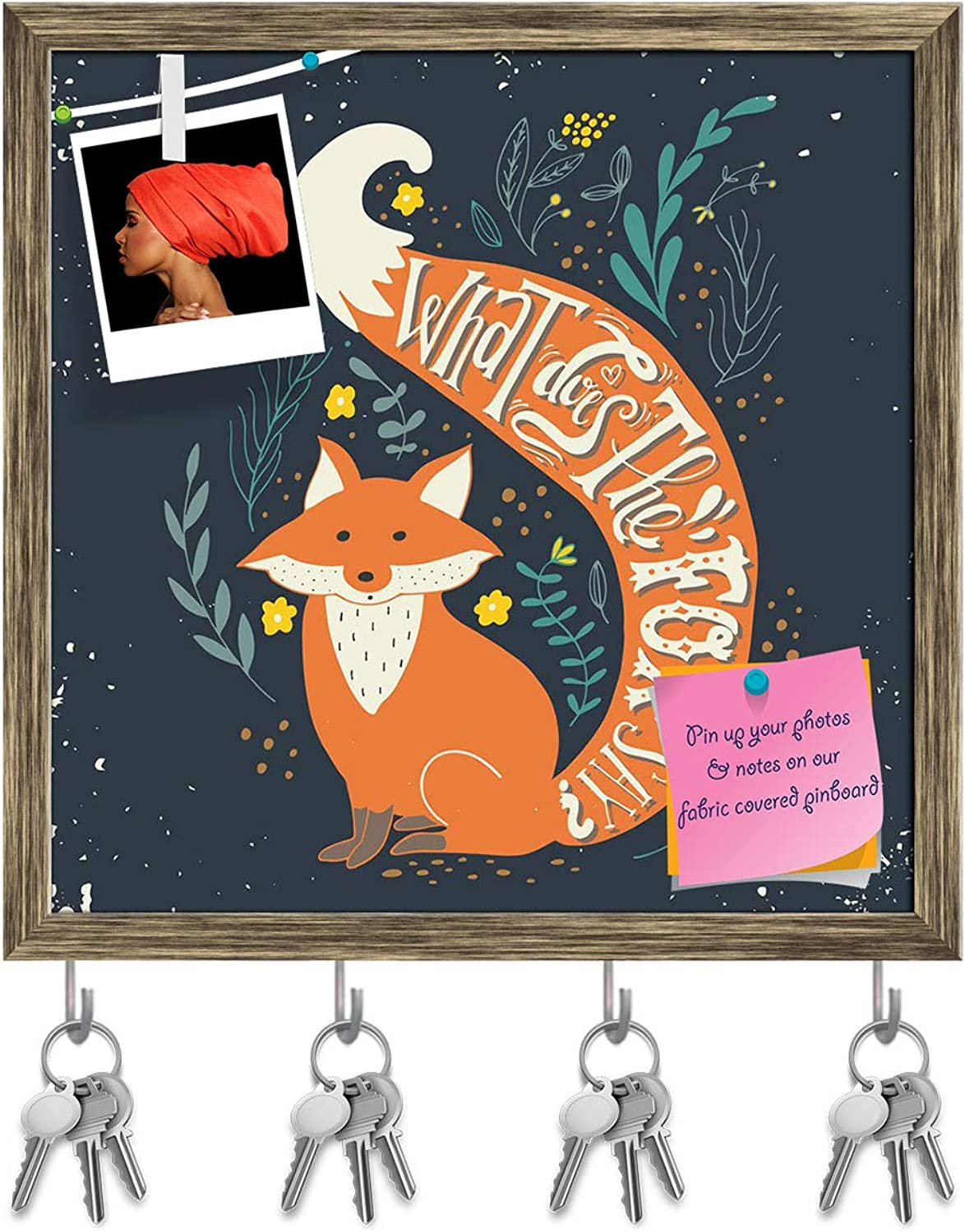 Artzfolio Fox & Hand Lettering Key Holder Hooks   Notice Pin Board   Antique golden Frame 20 X 20Inch