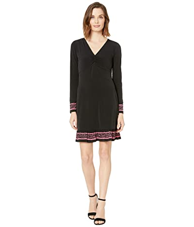 MICHAEL Michael Kors Solid Twist Neck Petal Border Dress (Black) Women