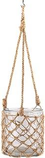 Large Macrame Jute Rope Netting Glass Jar 7 x 6 Inch Nautical Inspired Hanging Lantern Decoration