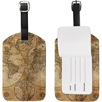 2 Pack Luggage Tags World Map Travel Tags For Travel Bag Suitcase Accessories