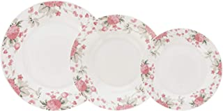 comprar comparacion Quid VERA Vajilla de porcelana para 6 personas, 18 piezas, Blanca con ala decorada floral,