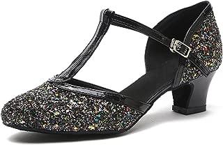 Minishion Women's T-Strap Flared Heel Glitter Latin Ballroom Dance Shoes Party Pumps