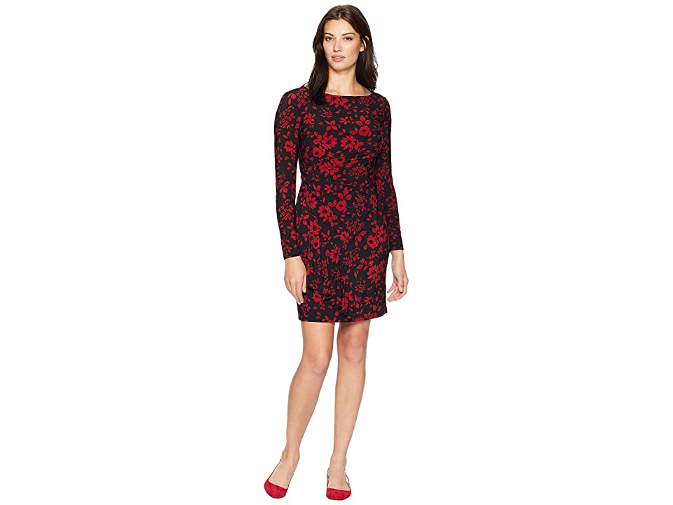 CHAPS Ruffle-Trimmed Jersey Dress (Black/Lakehouse Red) Women