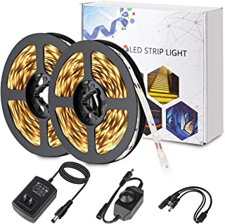 BINZET Warm White Led Strip Lights 600 LEDs SMD 2835 Tape Light Kit with UL Power Supply and Dimmer 32.8ft Dimmable Led Light Strip for Home Kitchen TV