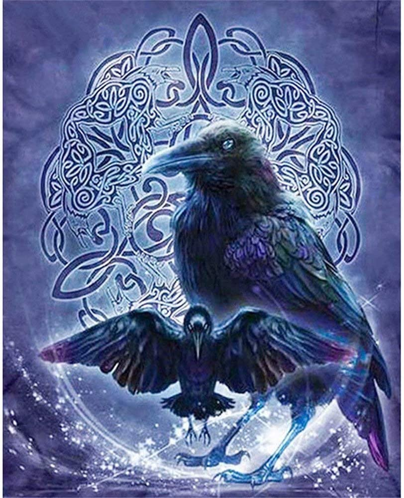 Free shipping / New Black Ravens Full Drill Diamond 5D Painting Year-end gift Emb