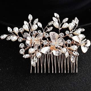 Deniferymakeup Wedding Rhinestone Pearls Butterfly Hair Comb Bridal Vintage Headpiece Crystal Women Hair Comb Bridal Hair Comb Wedding Hair Piece Wedding Accessories