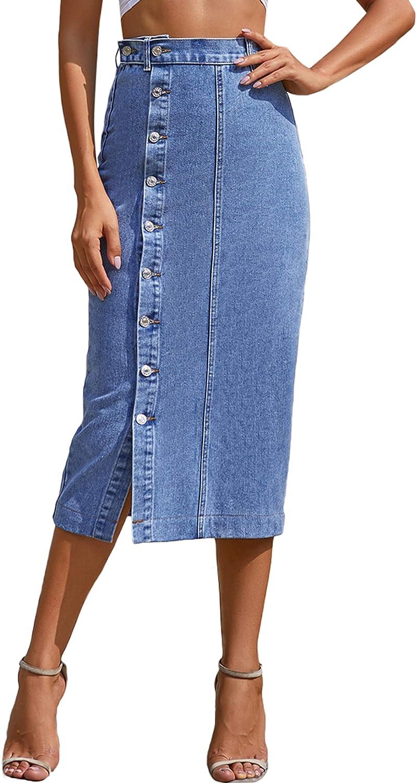 ELSTAROA Women's Casual High Waisted Solid Button Up Denim Jean Skirt