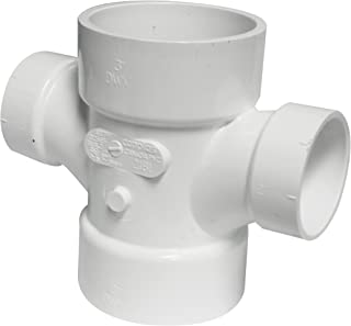Canplas 192181 PVC DWV Double Sanitary Tee, 3 x 3 x 2 x 2-Inch, White