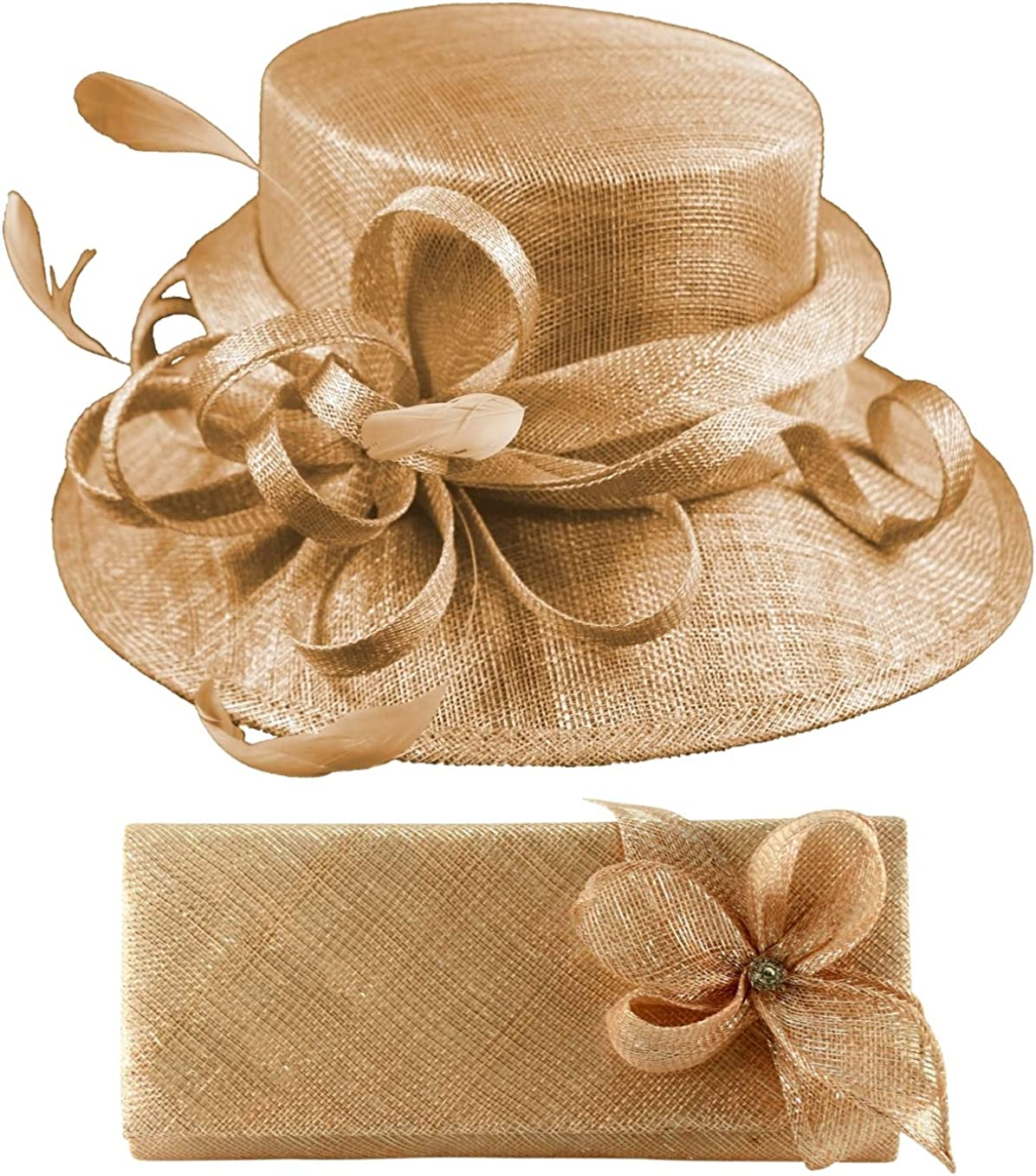 Elegance Collection Sinamay Wedding Hat Bundle with Matching Sinamay Bag (2 Items)