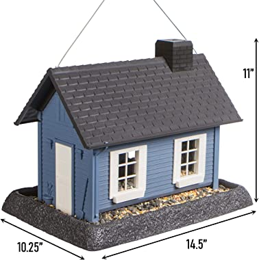 North States Village Collection Large Blue Cottage Birdfeeder: Easy Fill and Clean. Squirrel Proof Hanging Cable included, or Pole Mount (pole sold separately). Extra Large, 8 pound Seed Capacity (10.25 x 14.5 x 11, Blue)