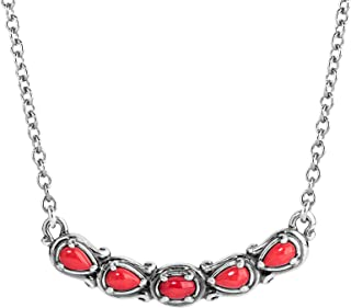 Sterling Silver Multi Gemstone Choice of 8 Different Colors 5 Stone Necklace 16 to 18 Inch
