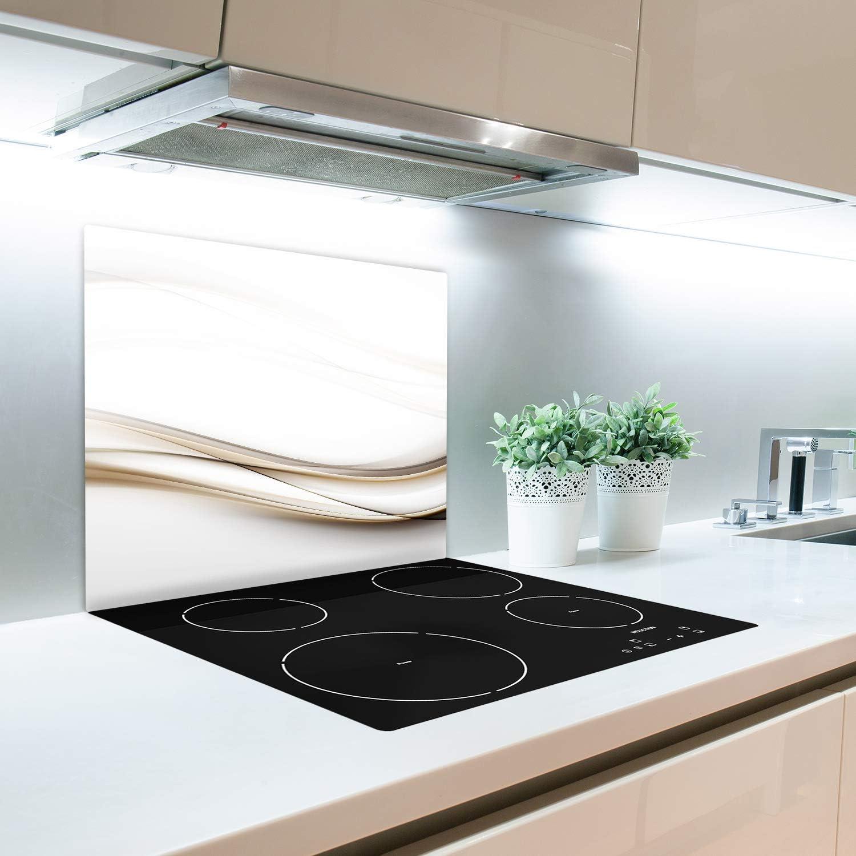 Tulup Tabla De Cortar Cocina 2x30x52cm Vidrio Protector De Placa De Induccion Olas Doradas