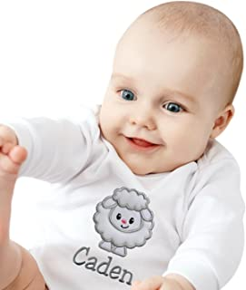 Personalized for Baby Embroidered Soft and Fuzzy Lamb Romper Bodysuit with Your Custom Name