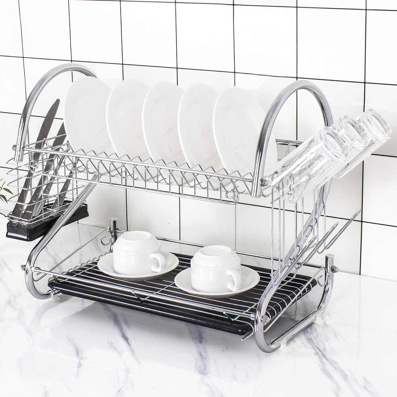 Tahlegy Black Drain All items free shipping Board Chrome Cutlery 2 Translated Dish Tier Drainer Dry