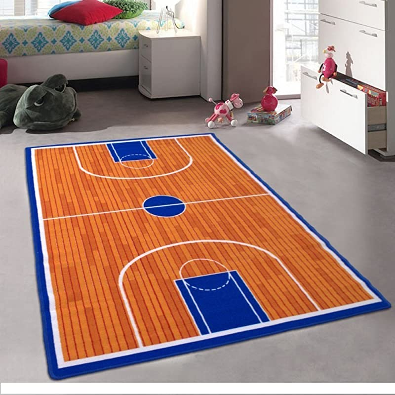 Kids Baby Room Daycare Classroom Playroom Area Rug Basketball Court Sports Fun Non Slip Gel Back 3 Feet X 5 Feet