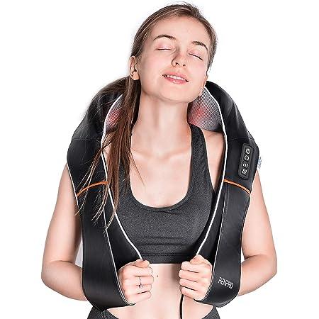 RENPHO Masseur Cervical Shiatsu, appareil de massage cervical dorsal pour le cou et les épaules avec chaleur, tissus profonds Oreiller de massage 3D pétrissant pour le soulagement de la douleur