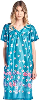 Casual Nights Women's Short Sleeve Muumuu Lounger Dress - Green - X-Large