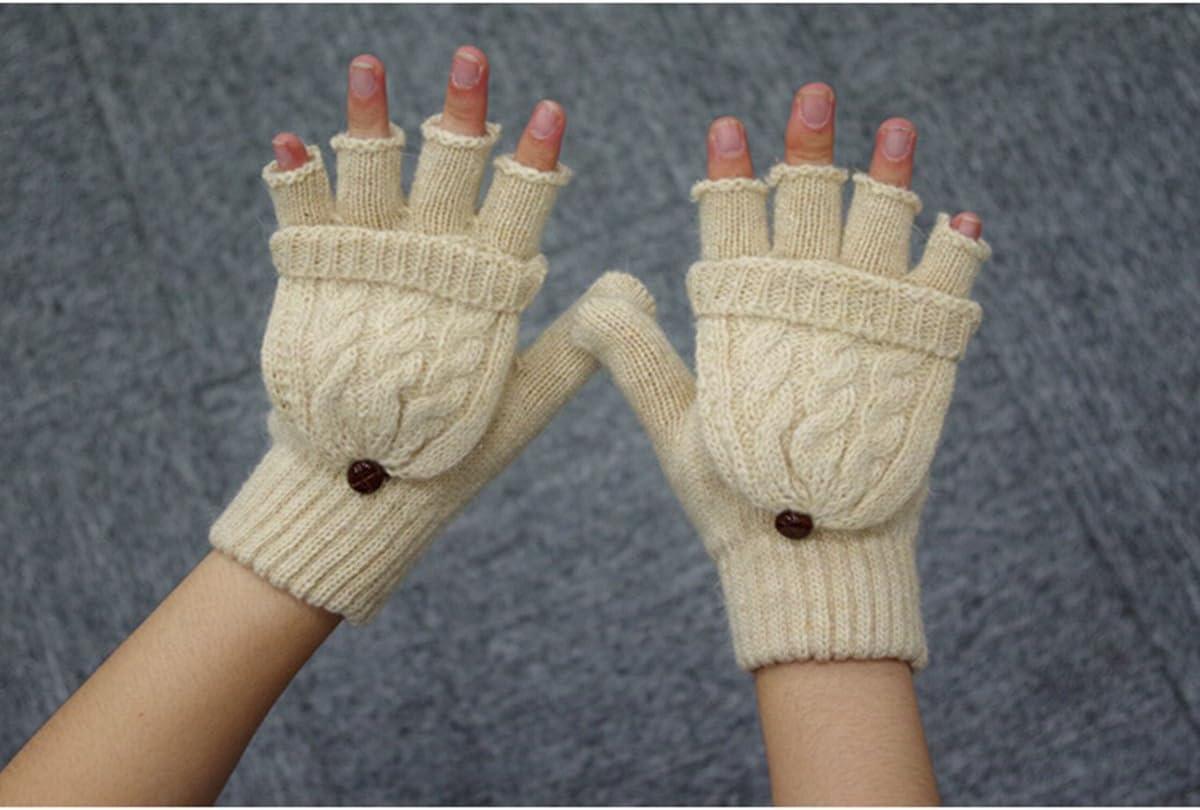 VORCOOL Women Winter Warm Wool Knitted Convertible Fingerless Gloves with Mitten Cover (Beige)