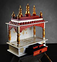 Beautiful Wooden Temple For Home,Mandir for Home/Office, Wooden Temple, Hand Made Temple, Handprinted Temple,(15x8x18)