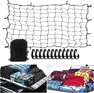 6` x 5` Heavy Duty Bungee Cargo Net Stretches to 12` x 10` -Latex Truck Bed Mesh with 12Pcs Free Adjustable Hooks for The Secure Carrying on Roof Luggage Rack,Cargo Carrier and Pickup Truck Bed