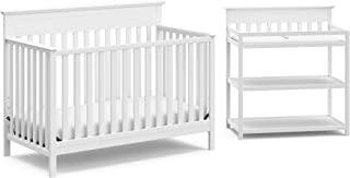 Storkcraft Windward 2-Piece Nursery-in-a-Box (White) - JPMA Certified, Complete Nursery Solution with Convertible Crib and Infant Changing Table
