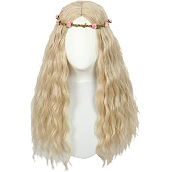 Codeven Long Blonde Curly Cosplay Costume Wig for Women With flower crown