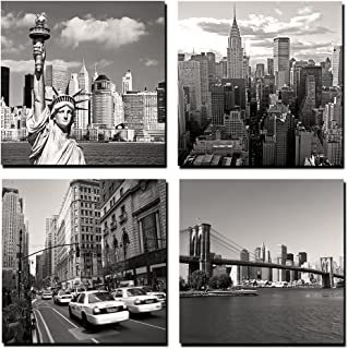 GOUPSKY Canvas Print for Home Decoration 4 Panels New York City Landmark Painting Wall Art Picture Print on Canvas - High Definition Modern Giclee Artwork