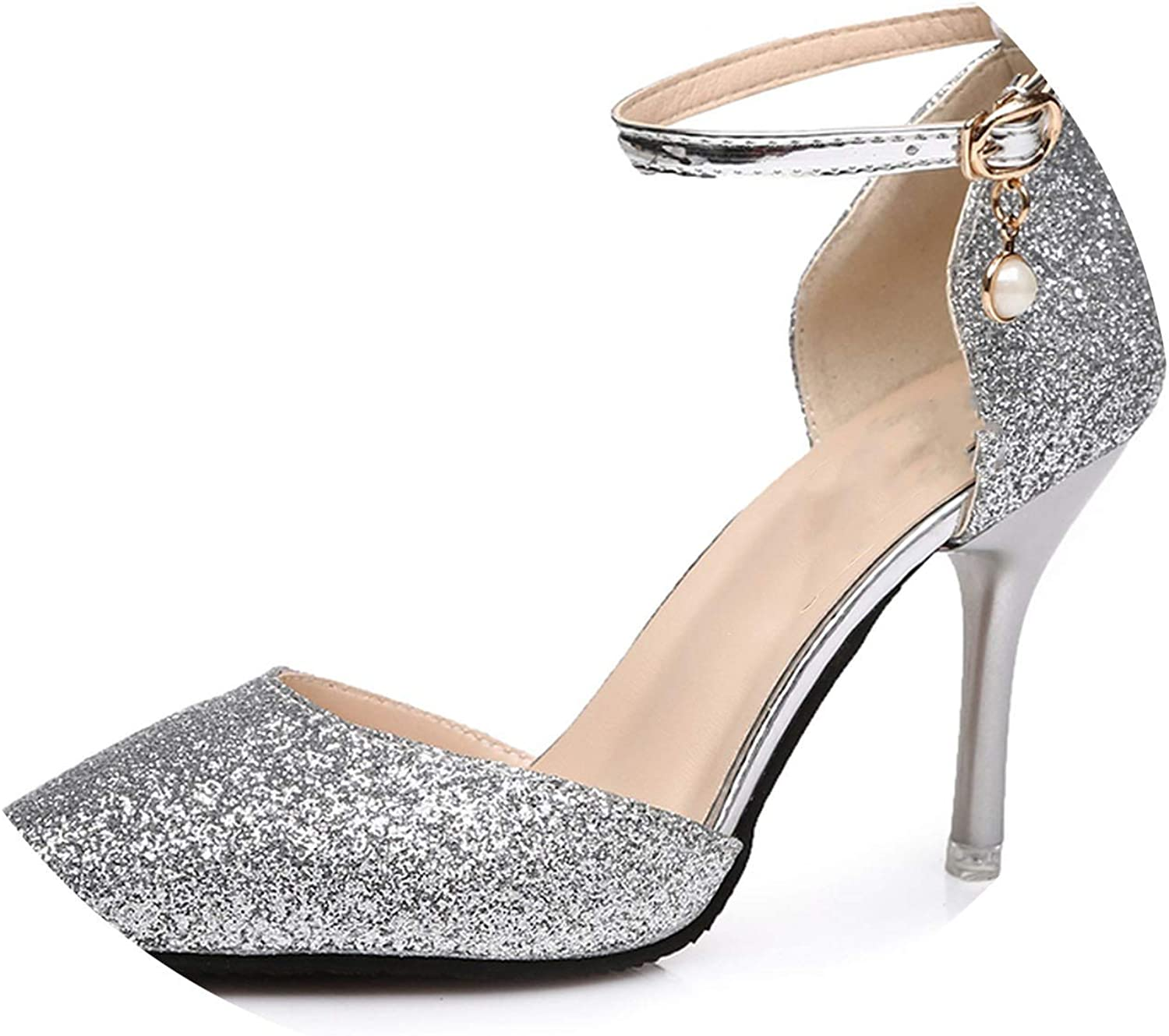 Ladies Shinning Glitter gold Silver Pumps Sexy Pointed Toe high Heels