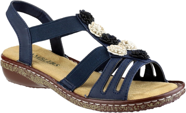 Amblers Girls Ladies Belice Slip On Open Toe Summer Sandal Navy PU