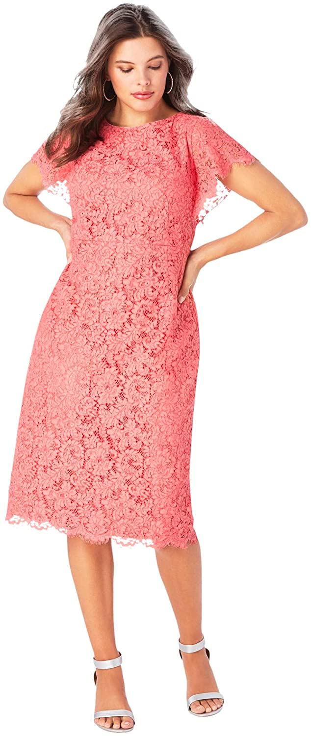 Roamans Women's Plus Size Lace Sheath Dress with Flutter Sleeves Formal Evening