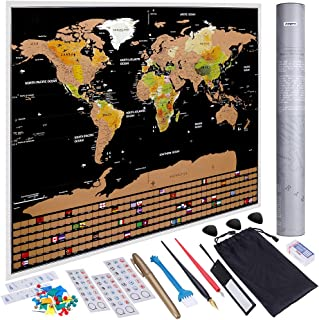 Anpro Scratch Off World Map, Scratchable World Map Poster Travel Map with US States and Country Flags Abundant Accessories...
