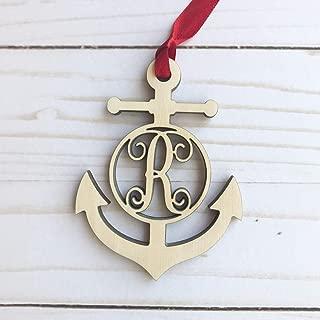 Monogram Anchor Wood Ornament - Letter R