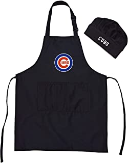 Nine Culture Chef Hat Apron Home Professional Cooking Apron/Kitchen Utility Grill Apron Picnic Pinafore with Pockets Comfortable Aprons/Black Apron for Women and Men Adjustable (Cubs)