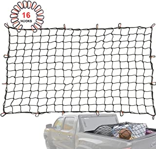 Orion Motor Tech 4x6 FT Cargo Net Heavy Duty for Full Size Truck Bed Stretches to 8x12 FT, 16 Tangle-Free D Clip Carabiners, Small 4x4 inches Mesh Holds Small and Large Loads Tighter