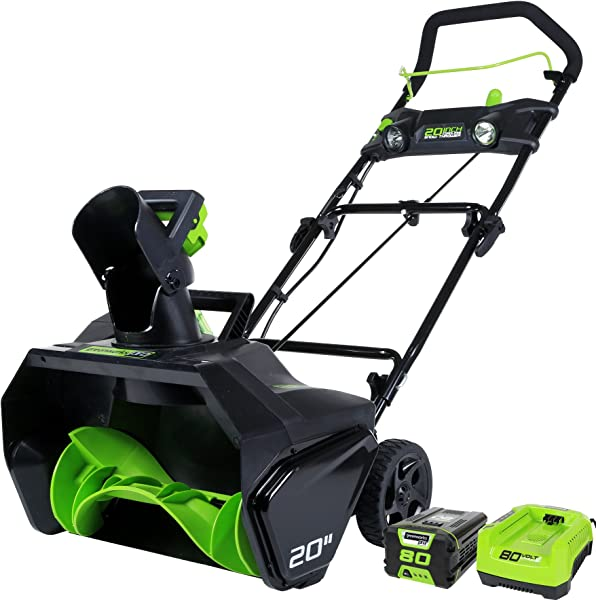 Greenworks PRO 20 Inch 80V Cordless Snow Thrower 2 0 AH Battery Included 2600402